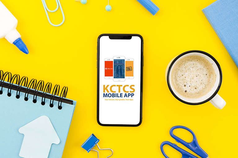 The KCTCS Mobile App on a cell phone